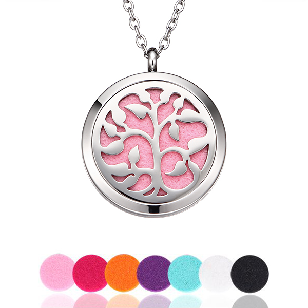 stainless steel life tree perfumer locket with interchangeable pad