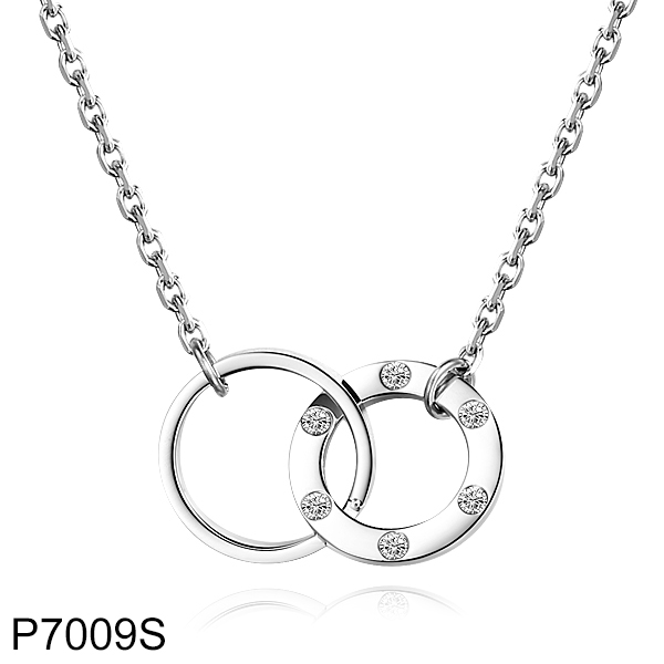 P7009S Stainless Steel Crystal Double Rings Engraved Pendant  Necklace