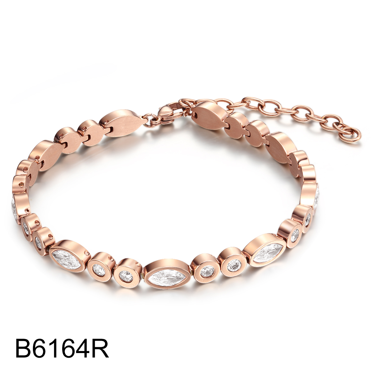 B6164R rose gold diamond tennis stainless steel bracelet