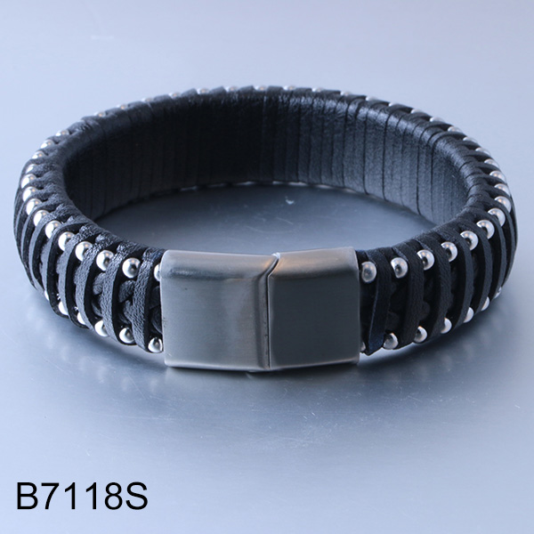 B7118S braided leather magn...