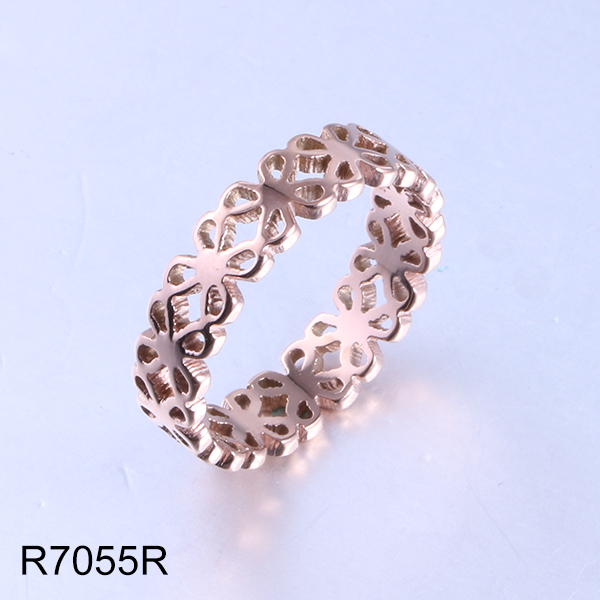 R7055R rose gold hollow flowers stainless steel ring