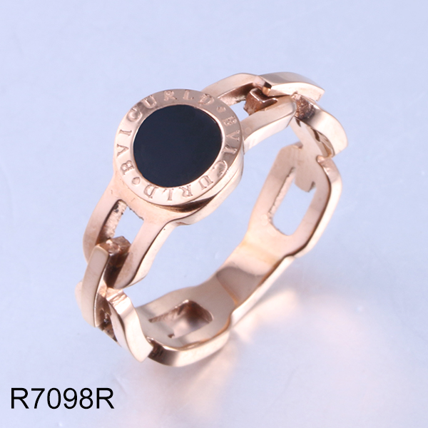 R7098R rose gold hollow watch style stainless steel ring