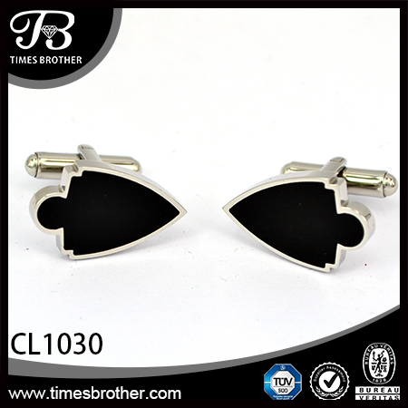 CL1030 Heart sliver stainless steel enamel cufflinks for men